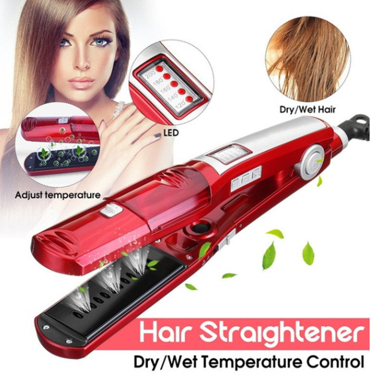 Steam hair straightener Electric flat iron steampod ceramic straightner Hair styling tools kemei straightening plate wafers 4