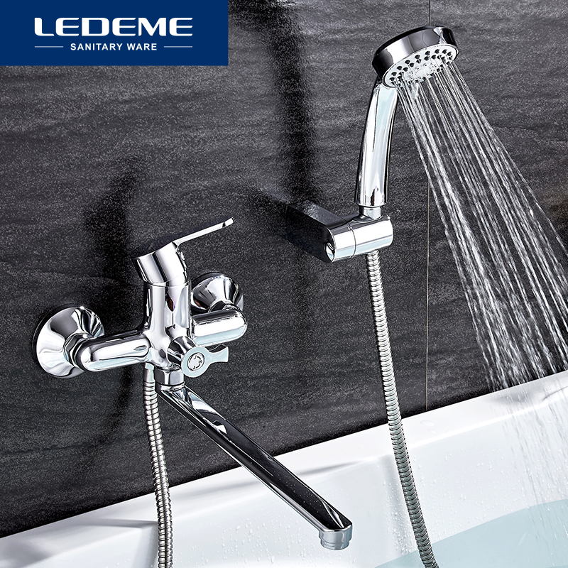 ledeme bathtub faucet bathroom chrome plated outlet pipe bath shower faucets head surface inside brass bathtub faucets l2225 aliexpress