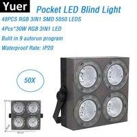 50Pcs 전체 판매 휴대용 LED 블라인드 라이트 4X30W RGB 풀 컬러 LED COB 파 조명 무대 스트로브 워시 효과 조명 실내 사용