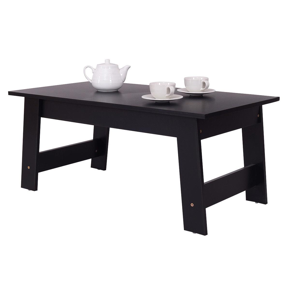 Giantex удобный Кофе стол современный Гостиная сторона столик Украшения дома и офиса черный Деревянная мебель hw54816bk