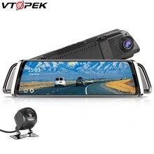 10 inç dokunmatik ekran akışı araba dvrı dikiz aynası Dash kamera Full HD araba kamera 1080P arka kamera çift Lens Video kaydedici