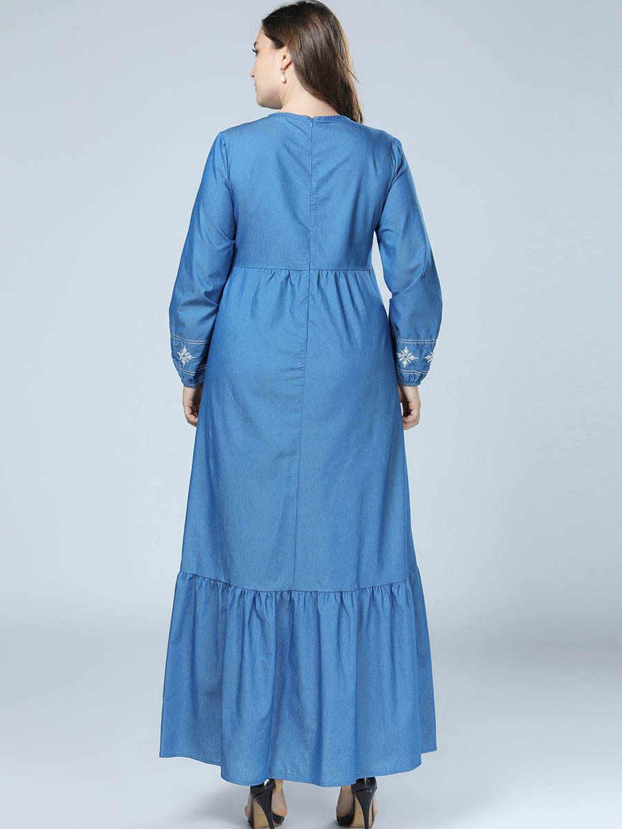 Мусульманское платье длинное джинсовое платье одежда из Дубая для женщин плюс размер одежда вышивка Турция турецкий кафтан исламский Синий Макси платья