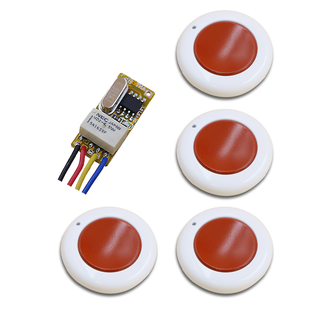 White and Red DC3.5-12V Mini Wireless Remote Control Switch 1Channal Intelligent Family System Transmitter with Receiver 315/433 wireless pager system 433 92mhz wireless restaurant table buzzer with monitor and watch receiver 3 display 42 call button