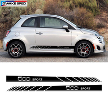 Sport Styling Car Body Sticker Auto Door Side Skirt Stripes For Fiat 500 Car font b