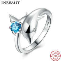 INBEAUT Solid 925 Sterling Silver Cute Lovely Blue Cubic Zirconia Dolphin Ring Women New Trend Engagement