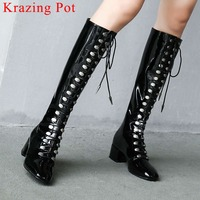 2019 european style rock motorcycle knee high boots plus size square toe vintage super model zipper chunky med heels boots L0f1