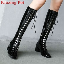 Heels Boots Rock Chunky Square Toe Motorcycle Zipper Plus-Size Knee-High L0f1 Super-Model