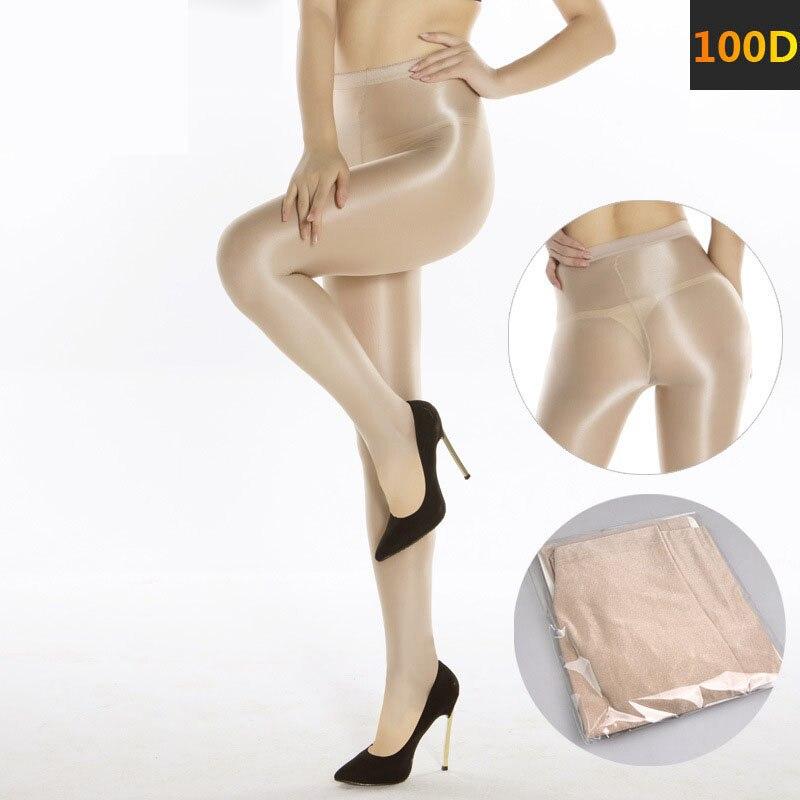 100D Sexy Velvet Thicken Line Fork Lingerie Glossy Shaping Dance Show Oil Stocking Nylon Elastic Shiny Pantyhose for Women