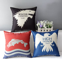 Game Of Thrones Pattern Cushion Cover Drama Logo Cushion Case Black Blue Throw Pillowcase Vintage Decorative