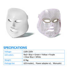 Beauty Star Skin Care LED Mask With 7 Color Photon Electric Face LED Mask Acne Removal Skin Rejuvenation Facial Spa Salon