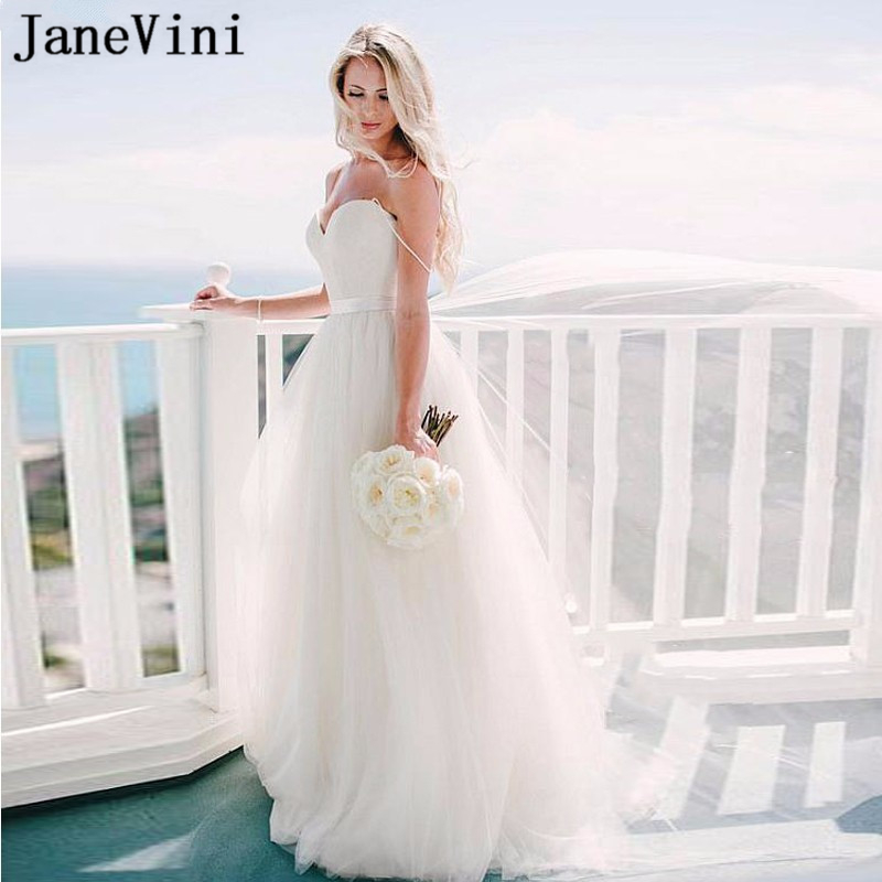 JaneVini Elegant White Beach Wedding Dresses Spaghetti Straps A Line Floor Length Simple Plus Size Bridal Gowns Robe De Mariee