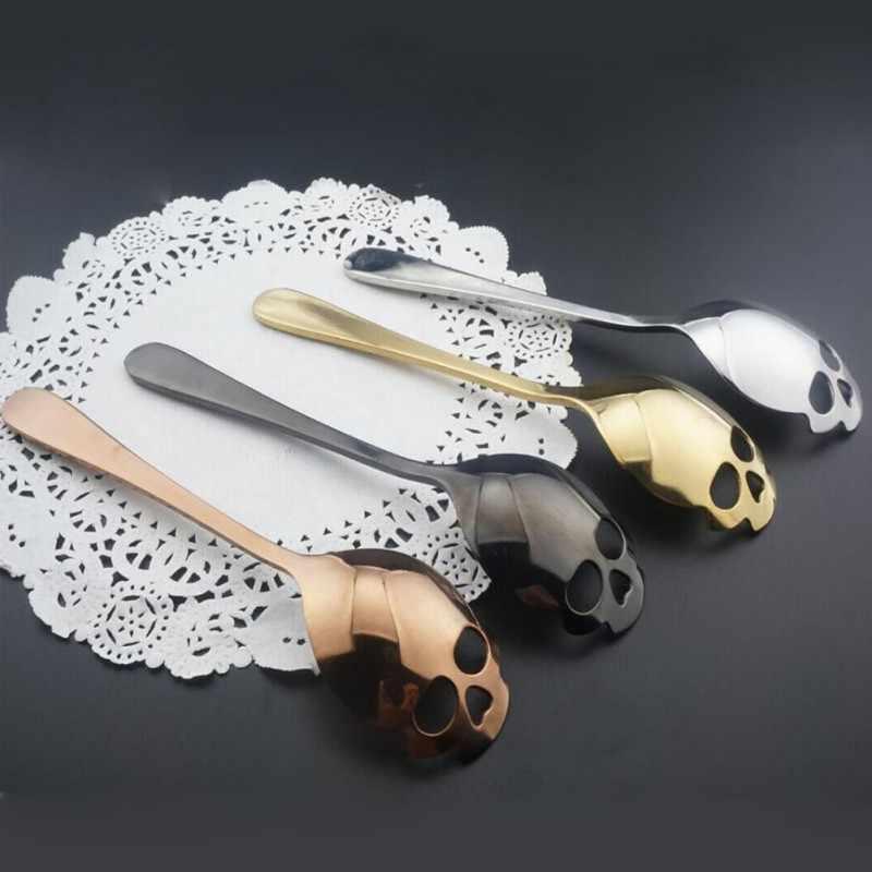 Creativo Dell'acciaio Inossidabile Del Cranio a Forma di Cucchiaio di Latte Creativo di Caffè Cucchiaio di Gelato Cucchiaio di Crema Della Caramella Cucchiaino accessori