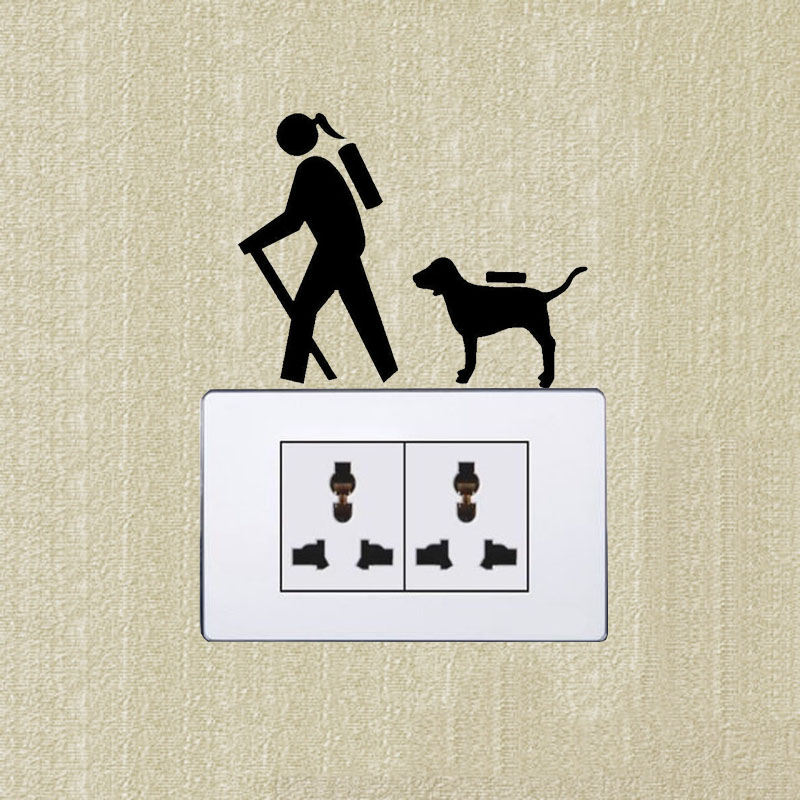 Hiker girl hiking dog personality switch sticker vinyl decals 2ss0879china