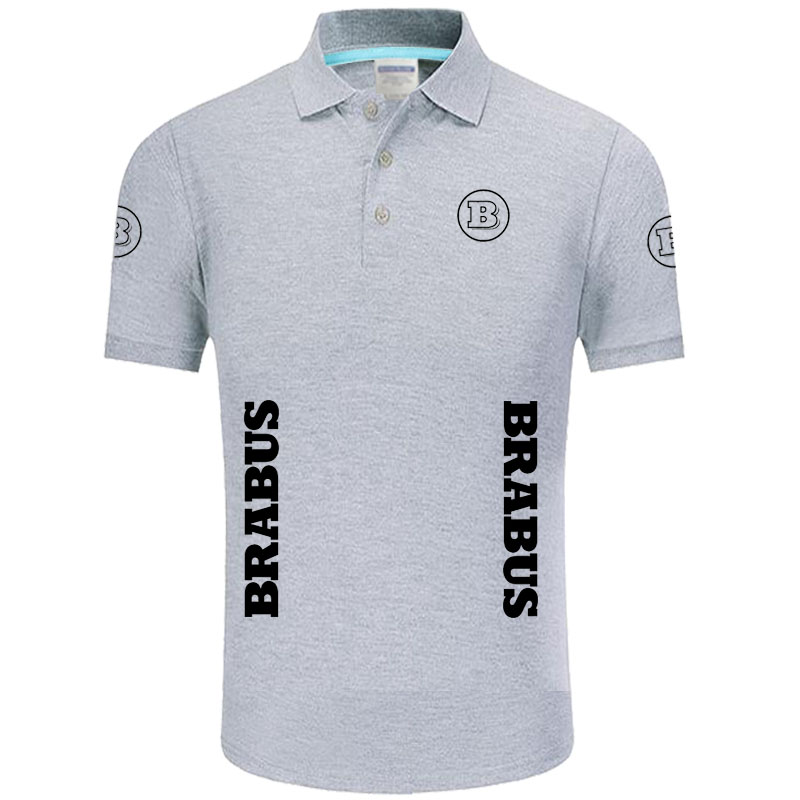 Summer High quality brand BRABUS logo   polo   short sleeve shirt Fashion casual Solid   Polo   Shirt unisex shirts