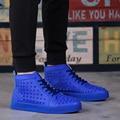 DR moda Hombre high top Botines de charol Hombres súper estrella Martin botas Warm Winter Botas zapatos inferiores rojos del remache para hombres