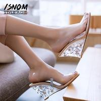 ISNOM Summer High Heels Transparent Sandals Women Wedges Crystal Sandals Shoes Peep Toe Footwear Party 2019 New Ladies PVC Shoes
