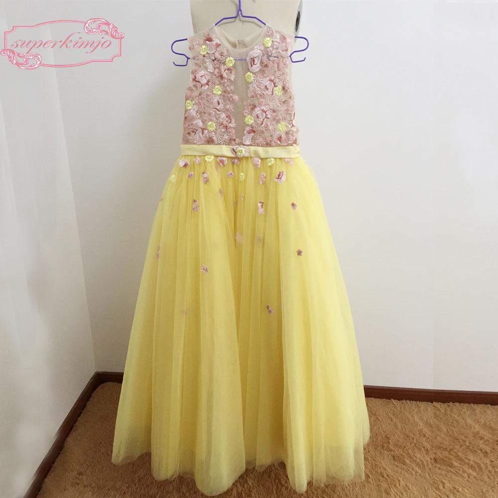 Yellow Little   Flower     Girls     Dresses   Sheer Crew Neckline Tulle Lace   Flowers   Appliques A Line   Flower     Girls     Dress
