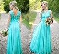 2016  Hot H007 Vestido De Festa Elegant Bridesmaid Dresses Turquoise Long  Plus Size Wedding Party Dress Vintage Custom Color/Si