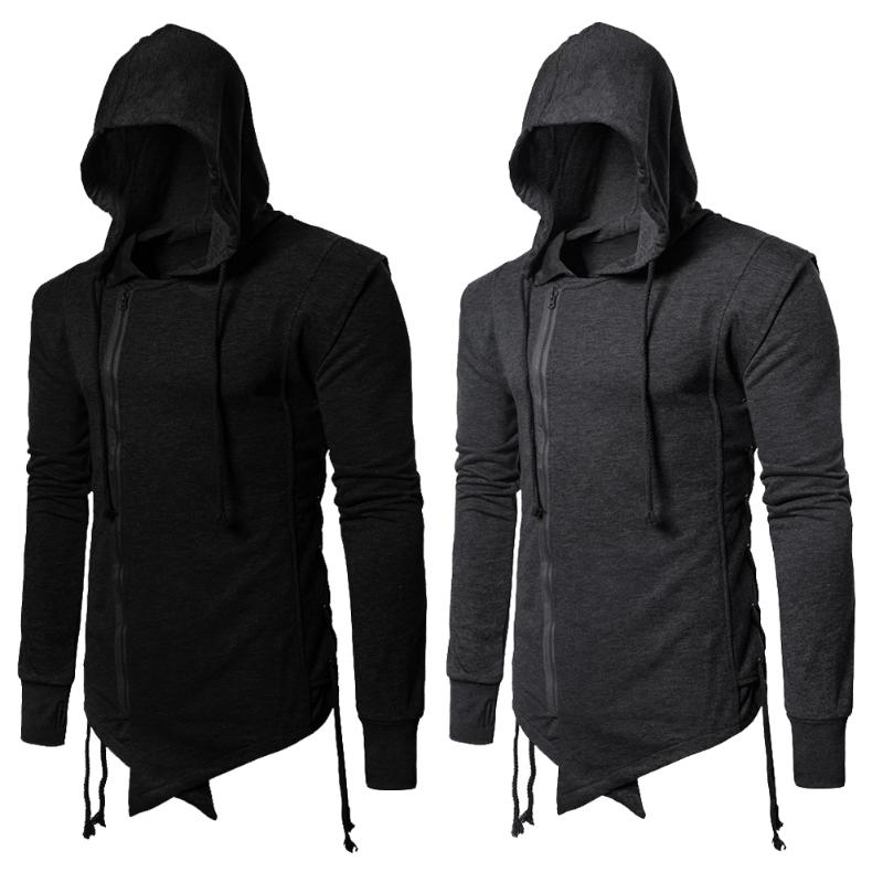 Spring Autumn Men Sweatshirt Side Drawstring Solid Black Gray Zipper Lapel Jacket Men Hooded Long Sleeve Hoodie Male Coat