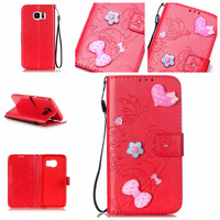 Flower Leather Wallet Flip Cover Case For Samsung Galaxy S2 S3 S4 S5 S6 S7 Edge