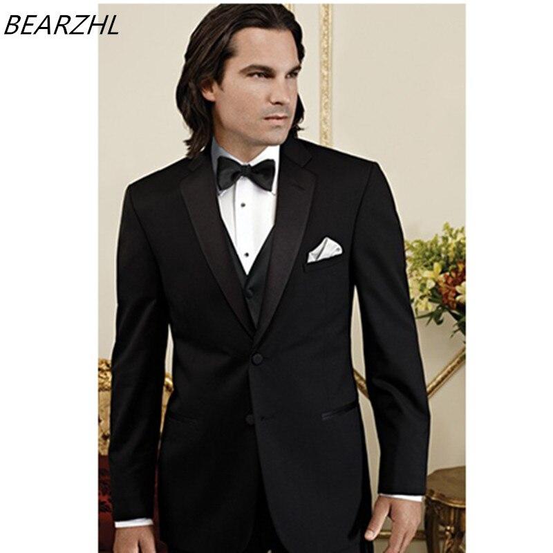 남성 3 조각 슬림 맞는 정장 블랙 신랑 착용 정장 정장 2019 양복 턱시도