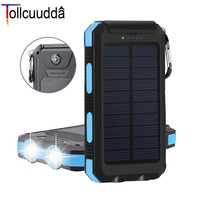 Tollcuudda 10000mah Waterproof Solar Power Bank Solar Charger 2 USB Power With Compass LED Light Powerbank