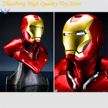 Anime 2017 NEW Hot Toy 61cm Resin Captain America Civil War Avengers Iron Man Bust Action Figure Christmas Shine FB094
