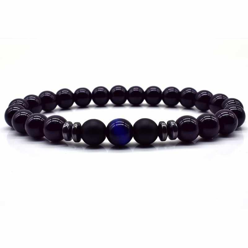 Nowe amulety bransoletka z paciorkami mężczyźni kobiety naturalny kamień tygrysie oko koraliki bransoletki bransoletki przyjaźń homme bransoletka biżuteria prezent