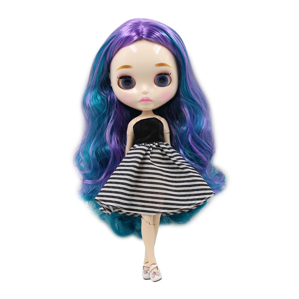 Blyth nude doll 30cm white skin Cool blue purple mixed curls hair no bangs 1 6