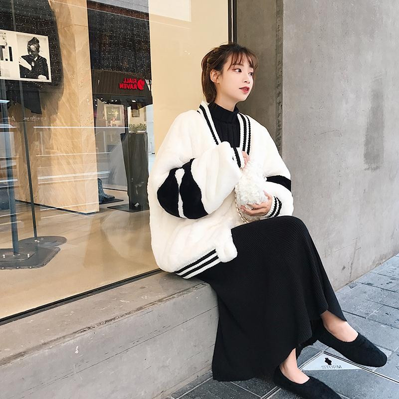 2018 Новая мода плюс размер осень зима куртки для женщин пальто Белый Черный Короткие Плюшевые толстовки и свитшоты верхняя одежда для девоче