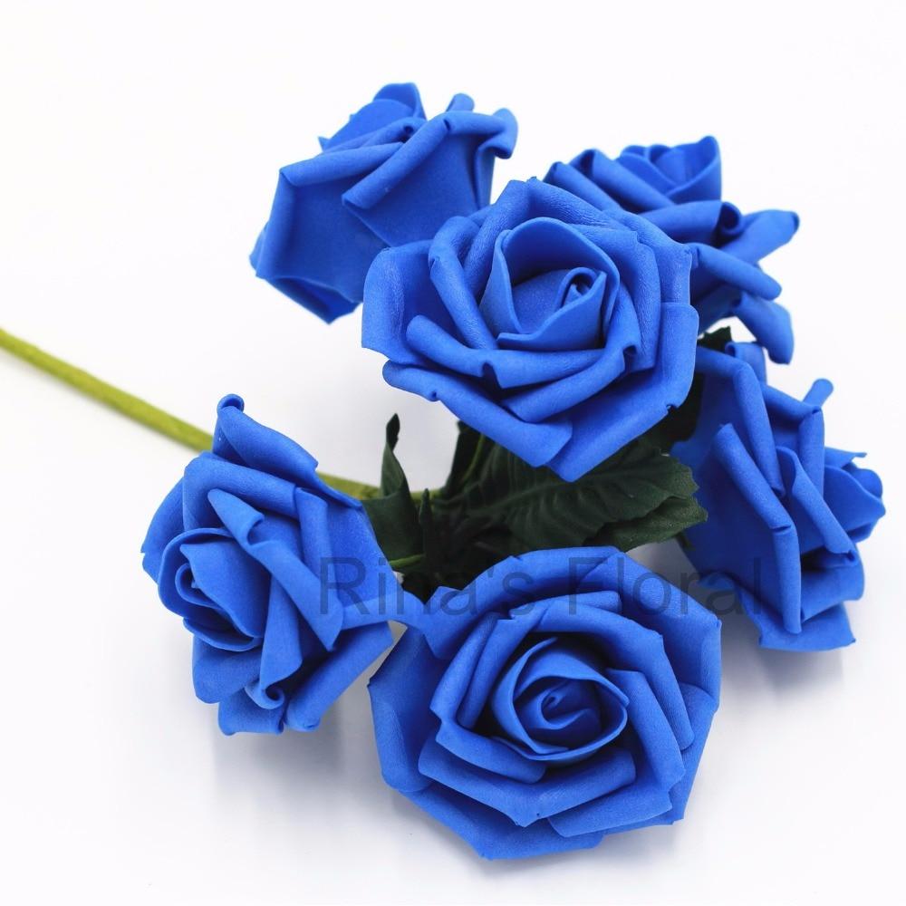 72 Royal Blue Flowers Fake Roses Bulk Flowers For Wedding Decoration