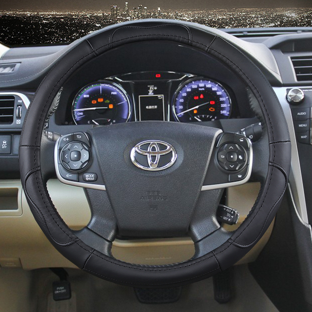 38cm Car Genuine Leather Steering Wheel Cover For Toyota