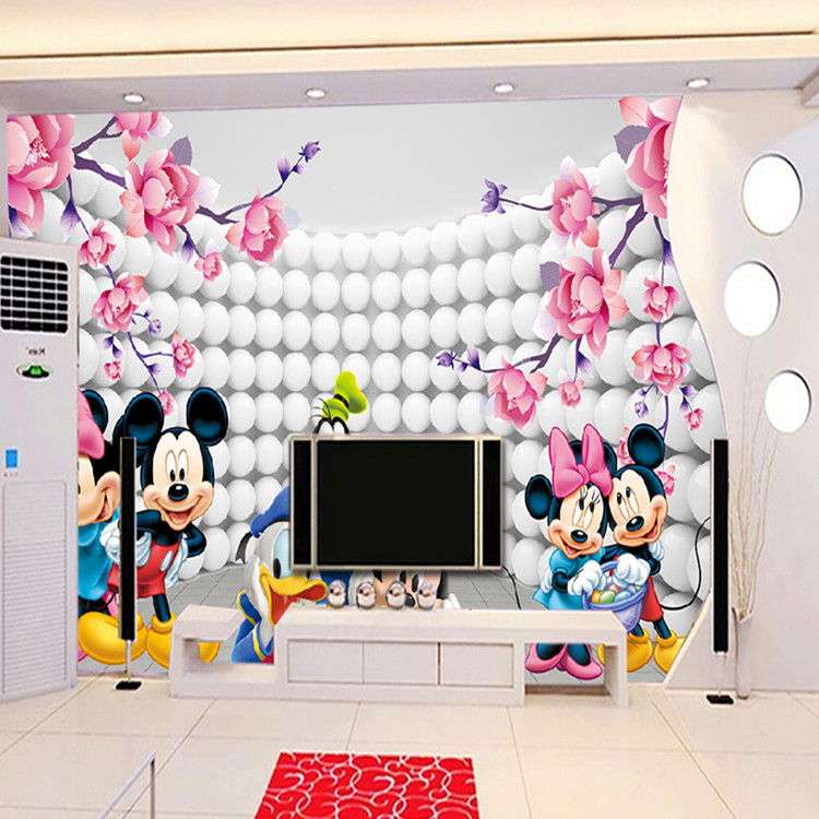 Free Shipping 3D Custom Wallpaper Cartoon Photo Wallpaper Mickey Mouse Wall  Murals Kidu0027s Bedroom Boys Girls Nursery Art Room Decor Pink Flowers Home ... Part 50