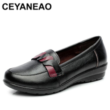 CEYANEAO 2019 Women Flats Old Mother Shoes Loafers Slip On Rubber Cow Genuine
