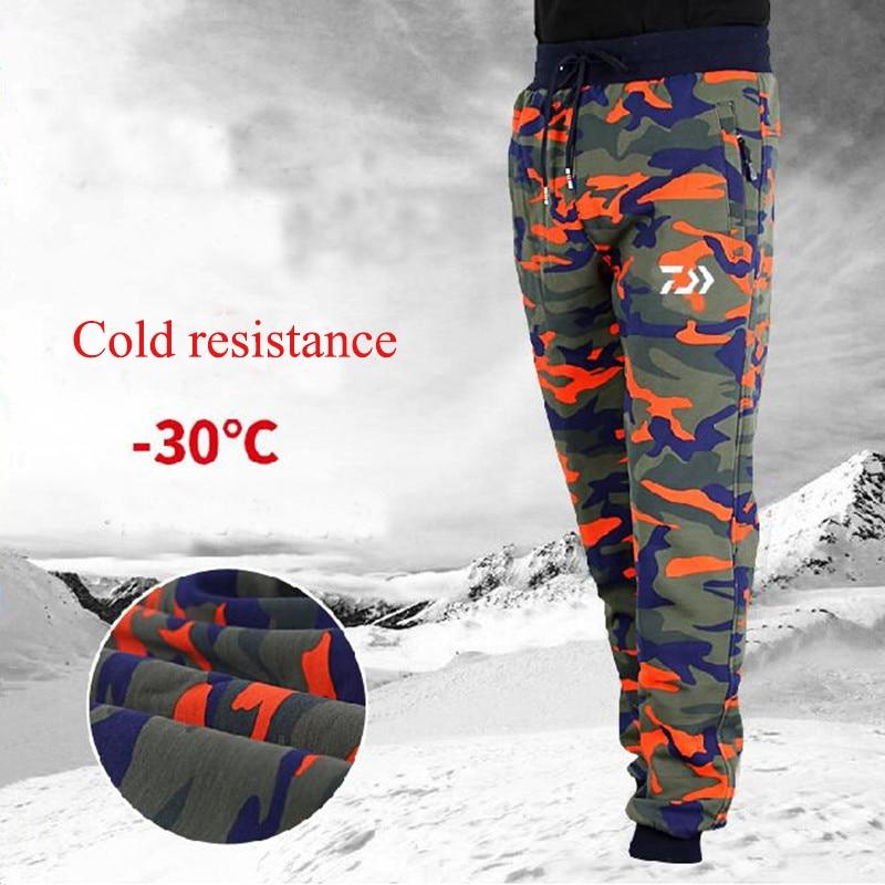 New Plus Velvet& Keep Warm Fishing Clothing Outdoor Sports Pants Men Fishing Pants Camouflage Climbing Hiking Fishing Pants