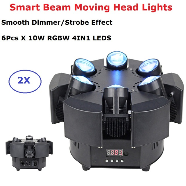6 Heads Beam Lights High Quality 6X10W RGBW 4IN1 LED Smart Beam Moving Head Stage Lights For Stage Theater Disco Nightclub Party