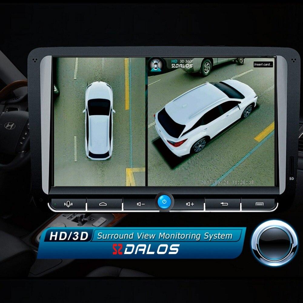 SZDALOS Newst Oiseau Voir Système HD 3D 360 Surround Vue Système Multi-angle réglable en métal De Voiture caméra 1080 p DVR G-Capteur