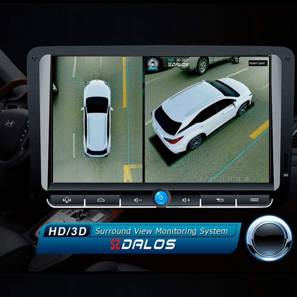 SZDALOS Newst Système de Vue D'oiseau HD 3D 360 Surround Système de Vue multi-angle réglable en métal Voiture caméra 1080 p DVR G-sensor