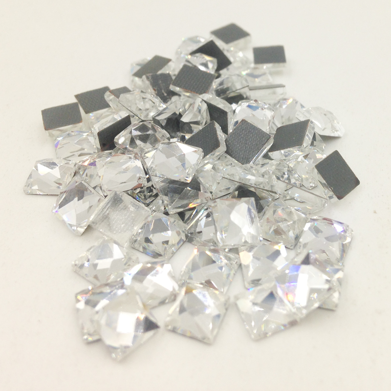 zhongxian Store New 100 piece/lot Square Crystal Rhinestones DIY Jewelry Sewing Beads for Wedding Dress Clothing Nail Art Bags Shoe Decoration