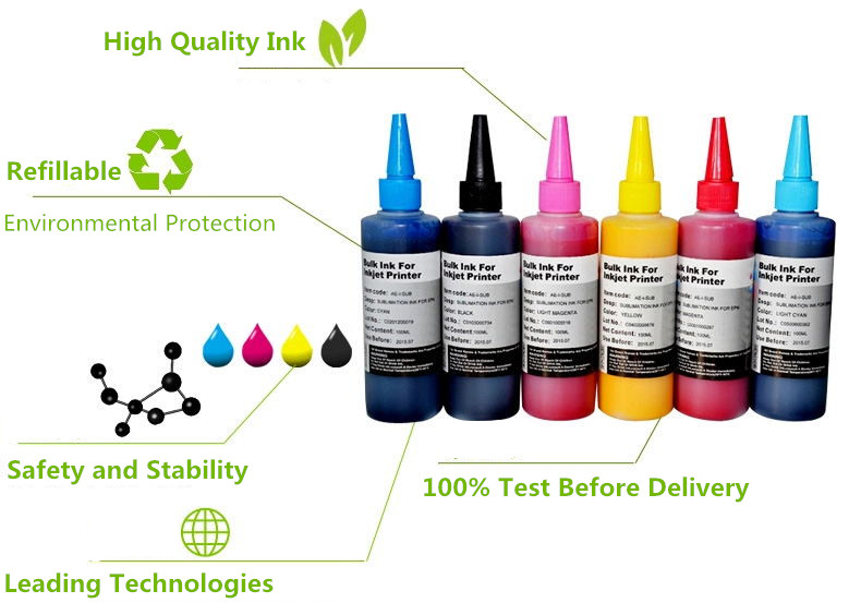 Image 2 - Sublimation Ink Heat Transfer Ink For EPSON Inkjet Printer  (6 colorx100ml)-in Ink Refill Kits from Computer & Office