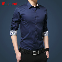 iRicheraf 2019 Formal Business Men Shirt Long Sleeve Mens Dress Shirts Cotton White Black Plus Size 3XL 5XL High Quality