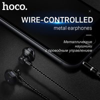 HOCO Metallic Universal Earphones With Mic Wired Headset 3 5mm Jack With Remote For Apple IPhone