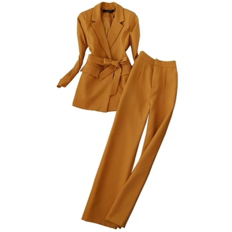 Printemps et automne nouveau costume de mode femme dames tempérament ceinture costume taille haute pantalon droit deux pièces pantalon costume femmes