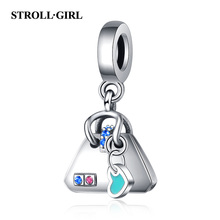 Strollgirl New 925 sterling silver Blue Enamel  Handbag Charms Pave CZ beads Fit Pandora Bracelet for Women DIY Jewelry