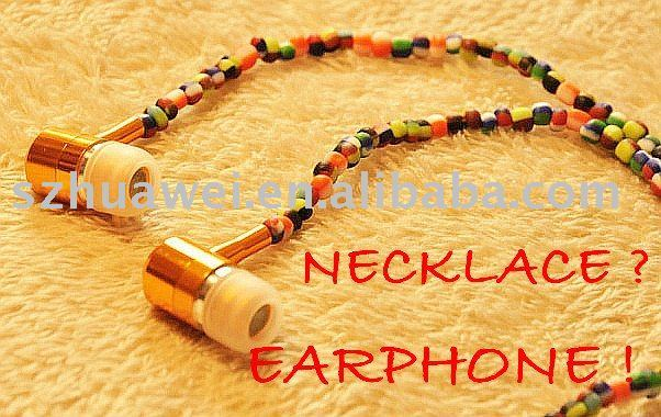 Mixed color wooden beads necklace DJ earphone