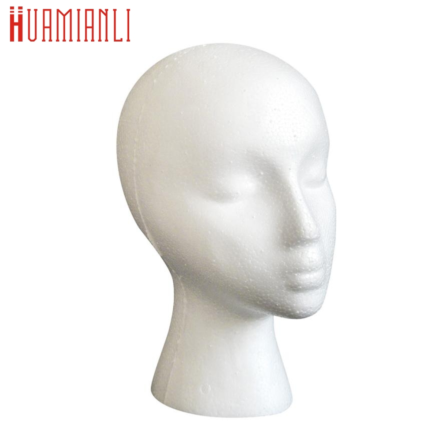 Training Mannequin  2017 cosplay Styrofoam Foam Mannequin Female Head Model Dummy Wig Glasses Hat Display Standdrop ship 17aug29