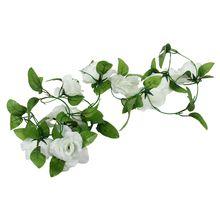 ALIM Artificial Rose Silk Flower Vine Garland Home Wall Party Wedding Decor White