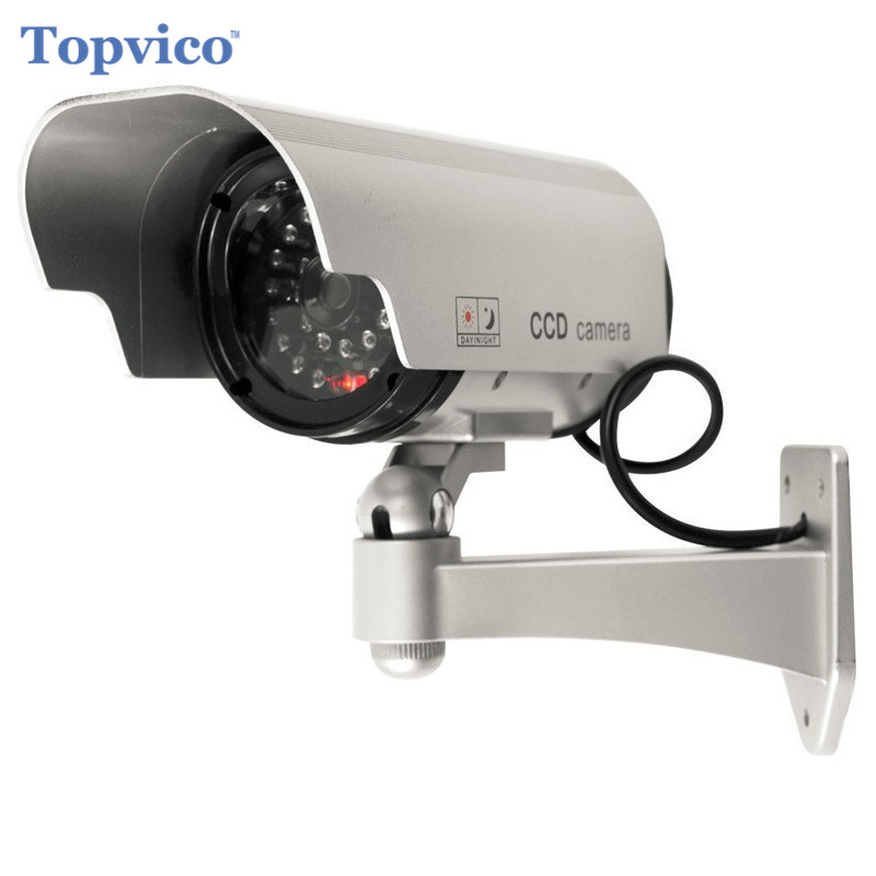 Topvico Solar Dummy Camera Flicker Blink LED Battery Powered Outdoor Fake Surveillance Home Security Camera Bullet CCTV Camera solar power fake dummy outdoor security home cctv camera battery powered flicker led red light home security surveillance camera