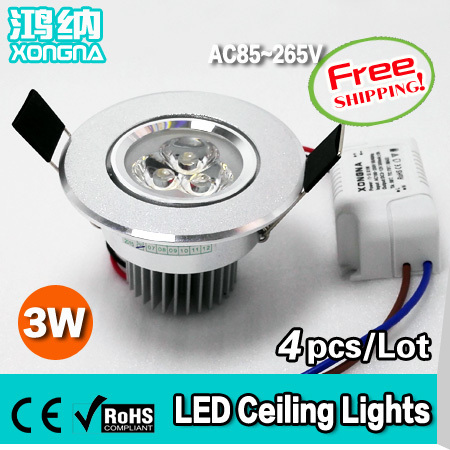 【ᗑ】free Shipping 4pcs Lot 【ᗑ】 3w 3w Led Recessed Ceiling