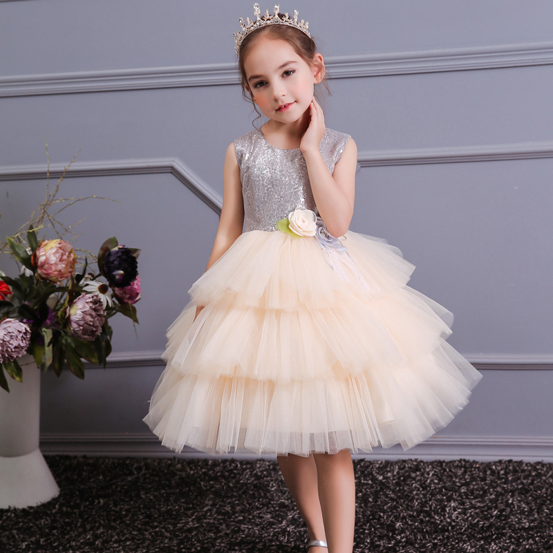 Girls Sequins Party Dress with Bowknot Teens Formal Evening Tutu Dress Elegant 10 12yrs Champagne Dress
